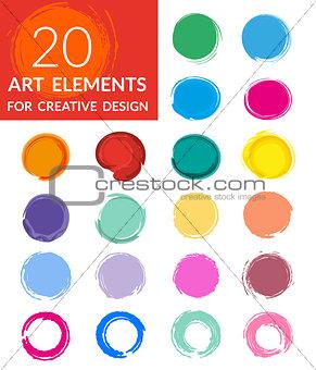 Circle paint drops set