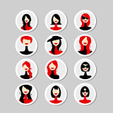 Cards with woman faces for your design