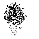 Female head silhouette, floral hairstyle for your design