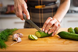 Closeup on young housewife cutting cucumber for pickling in kitc
