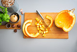 Closeup on pumpkin on cutting board