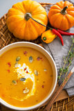 Closeup on pumpkin soup