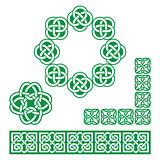Irish Celtic green design - patterns, knots and braids