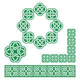 Irish Celtic green design - patterns, knots and braids