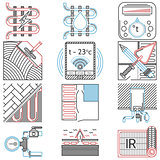 Flat line colored vector icons for heated floor