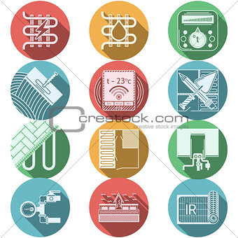 Flat round colored vector icons for heated floor