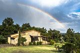 Rainbow cottage in Tuscany, Italy