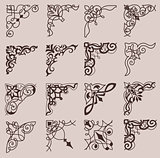 Set of ornamental corners in retro style. Vintage Design Elements