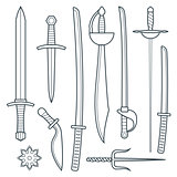 vector cold weapons outline set