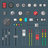 flat style various audio controls and indicators set