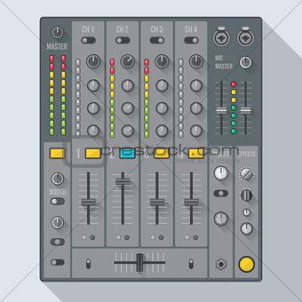 flat style sound dj mixer illustration
