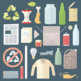 color flat style separated waste icons and signs