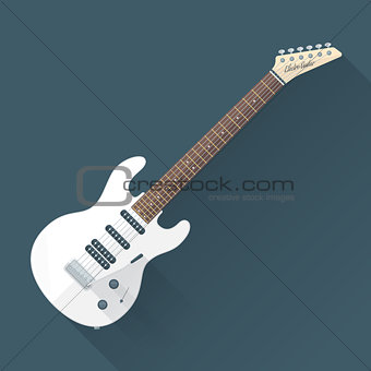 flat style white electric guitar