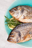 Grilled fish background.