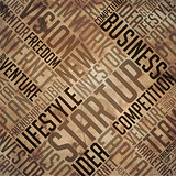 Startup - Grunge Word Collage in brown.