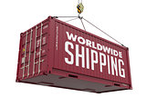 World Wide Shipping on Brown Metal Container.
