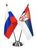 Russia and Serbia - Miniature Flags.