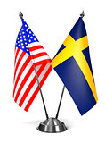 USA and Sweden - Miniature Flags.