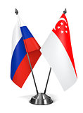 Russia and Singapore - Miniature Flags.