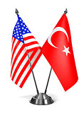 USA and Turkey - Miniature Flags.