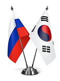 Russia and South Korea - Miniature Flags.