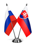 Russia and Slovakia - Miniature Flags.
