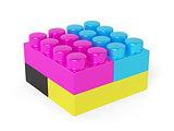 CMYK block concept isolated on white