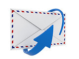 Mail envelope and blue circular arrow