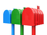 Colorful set of closed mailbox isolated