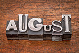 August month in metal type