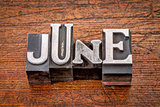 June month in metal type