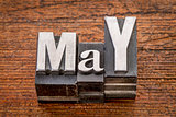 May month in metal type