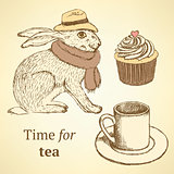Sketch fancy hare, cup, cupcake in vintage style