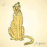 Sketch fancy jaguar in vintage style