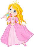 Princess licks lollipop