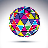Vector dimensional modern abstract object, 3d disco ball. Psyche