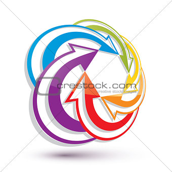 Arrows abstract conceptual symbol template, vector 3d pictogram.