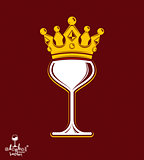 Sophisticated luxury wineglass with golden imperial crown. Leisu