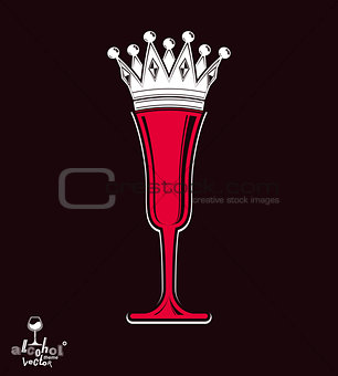 Champagne glass with imperial crown, decorative goblet full with