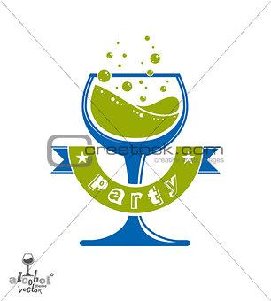 Alcohol theme vector art illustration. Festive goblet with decor