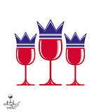 Sophisticated luxury wineglasses with king crown, graphic artist