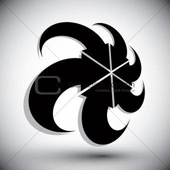 Arrows abstract conceptual symbol template, vector 3d single col