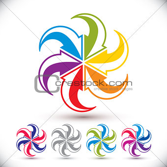 Arrows abstract conceptual symbol template, vector pictogram set