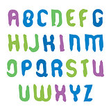 Vector hand-painted multicolored capital letters isolated on whi