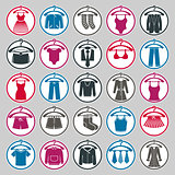 Clothes icons vector collection, vector icon set of fashion signs and symbols. EPS8