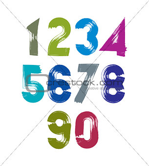 Calligraphic numbers drawn with ink brush, colorful vector numbe