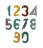 Handwritten contemporary vector digit set, doodle hand-painted n