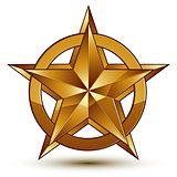 Vector glorious glossy design element, luxury 3d golden star, co