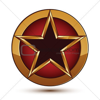 3d vector classic royal symbol, sophisticated black star with go