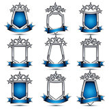 Set of silvery heraldic 3d glossy icons with curvy ribbons, best